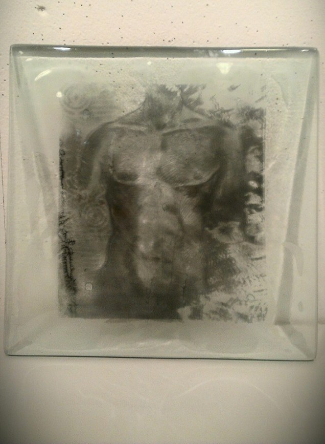 torso, glass fusion screen print